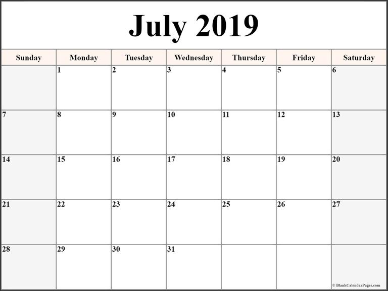 Blank July 2019 Calendar Printable Template Editable Wallpaper