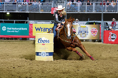 Nanton's Lindsay Sears rounds a barrel on her No. 1 horse Martha. Sears is still unsure of how much action Martha will see at the Stampede.