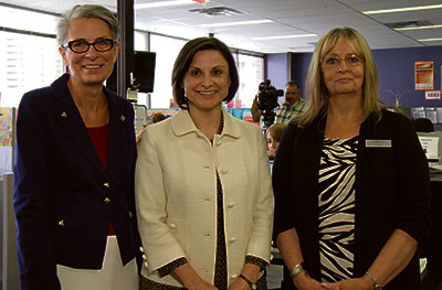 Gianna Manes, President and CEO of ENMAX Corporation joined Shirley Purves, CEO of Aspen Family and Community Network Society (left) and Joan Roy, Executive Director of the Distress Centre (right) in announcing the donation. Photo COURTESY OF ENMAX CORPORATION