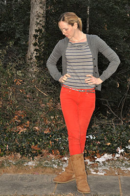 The colour orange is popping up in many pieces of clothing this fall. Coloured and/or printed denim is also going to be popular in women's fashion this fall. Photo courtesy of Liz-Flickr.com