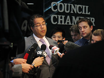 Mayor Naheed Nenshi addressing the press outside the City Council chamber.  Supplied by Evan Manconi