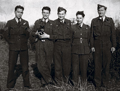 Comrades in arms:  Pilot Officer Steve Kuleski (far right) along with members of his Halifax bomber air crew. They served with the No. 432 Squadron of the Royal Canadian Air Force. As the pilot, Steve Kuleski handpicked each member of his flight crew.   Photo courtesy of Stephen Taylor