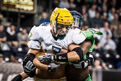 """""""Our games are about an hour-and-a-half and it's a rock 'n' roll meets football atmosphere."""" Mitch Mortaza - Photo courtesy of Eddie Perlas, LFL Photography"""
