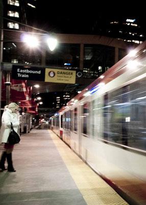 Woman alone on a CTrain platform