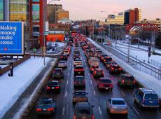 Bumper to bumper traffic heading downtown