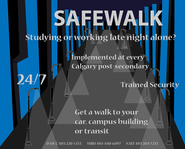 Safewalk is available for anyone on the university campus. Infographic by Casey Richardson.