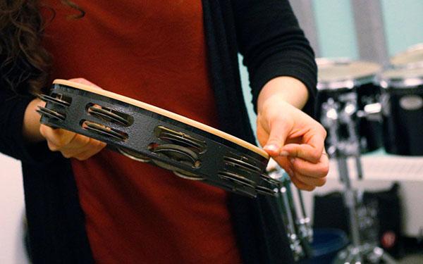 Close up tambourine