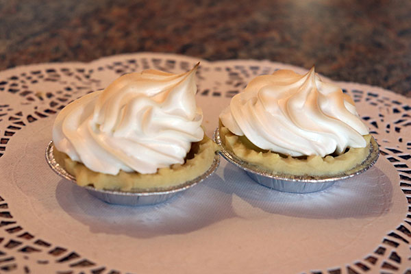 Meringue tarts are among the small pastry choices. Photo by Casey Richardson