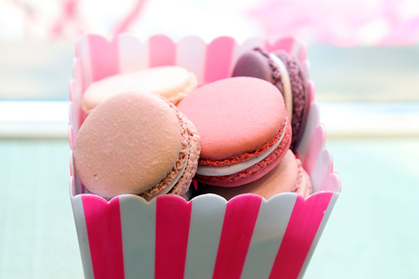 Macarons are made with egg whites, sugar, almond flour, and colouring.Filled with ganache, buttercream or jam. Photo by Casey Richardson.