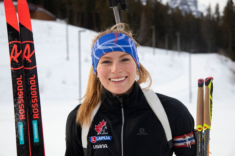 18-year-old Jenna Sherrington at the Canmore Nordic Centre on February 28th, 2020. Sherrington's parents put her on skis when she was only two years old, leading to her love and passion for the sport of biathlon. Photo by Lindsey Wynder