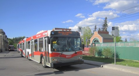 Calgary Bus next to Sunnyside CTrain Station in Kensington NW