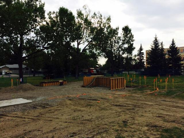 Construction at CKE Skatepark, located on Elbow Dr SW at 73 Ave SW