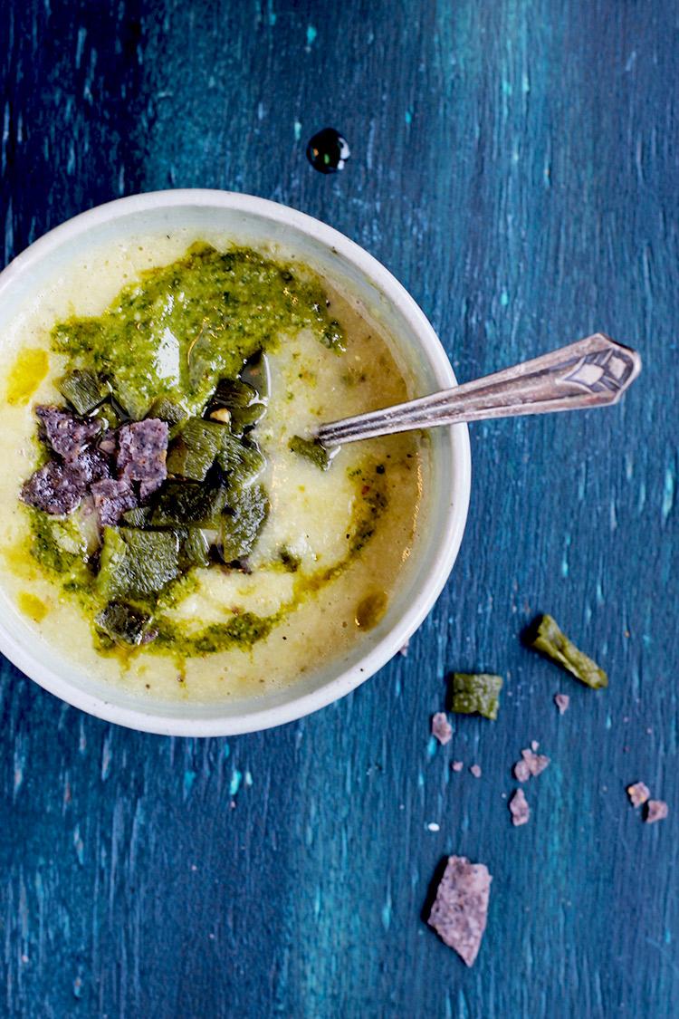 Roasted Potato Tomatillo Pureed Soup With Cilantro Pesto And Chili Oil