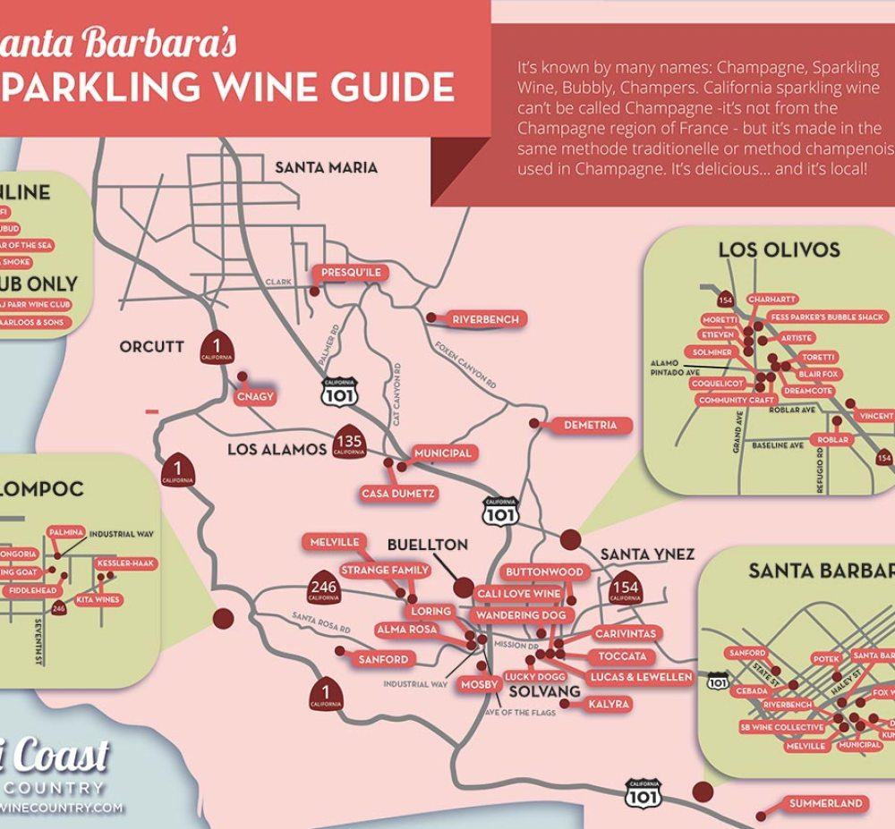Santa Barbara County Sparkling Wine Map: a Champagne Lover's Guide