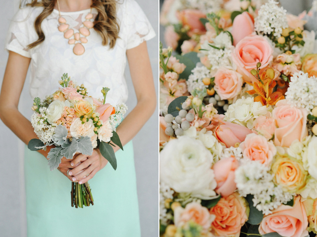 Peach White Mint Green Wedding Flowers At The Provo