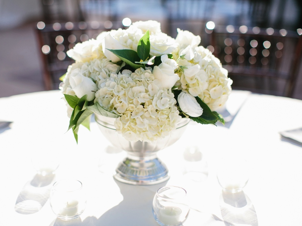 Sierra + Spencer's Classic White Wedding Flowers At