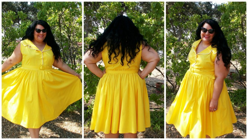 yellow 1950's brooklyn shirt dress