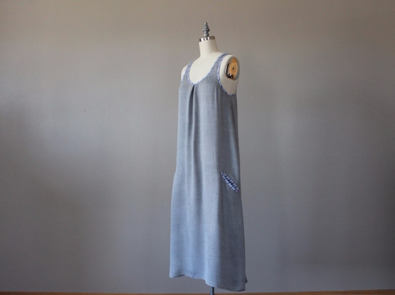 Rayon Tunic Dress with Bias Tape and Welt Pockets side