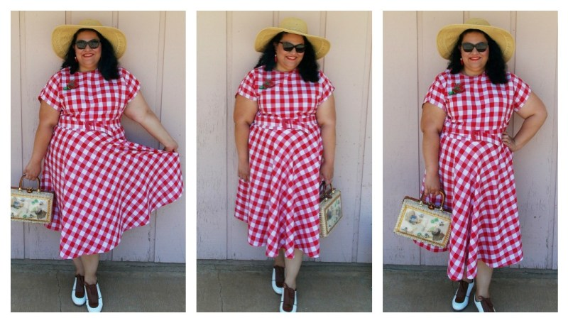 1940's red gingham