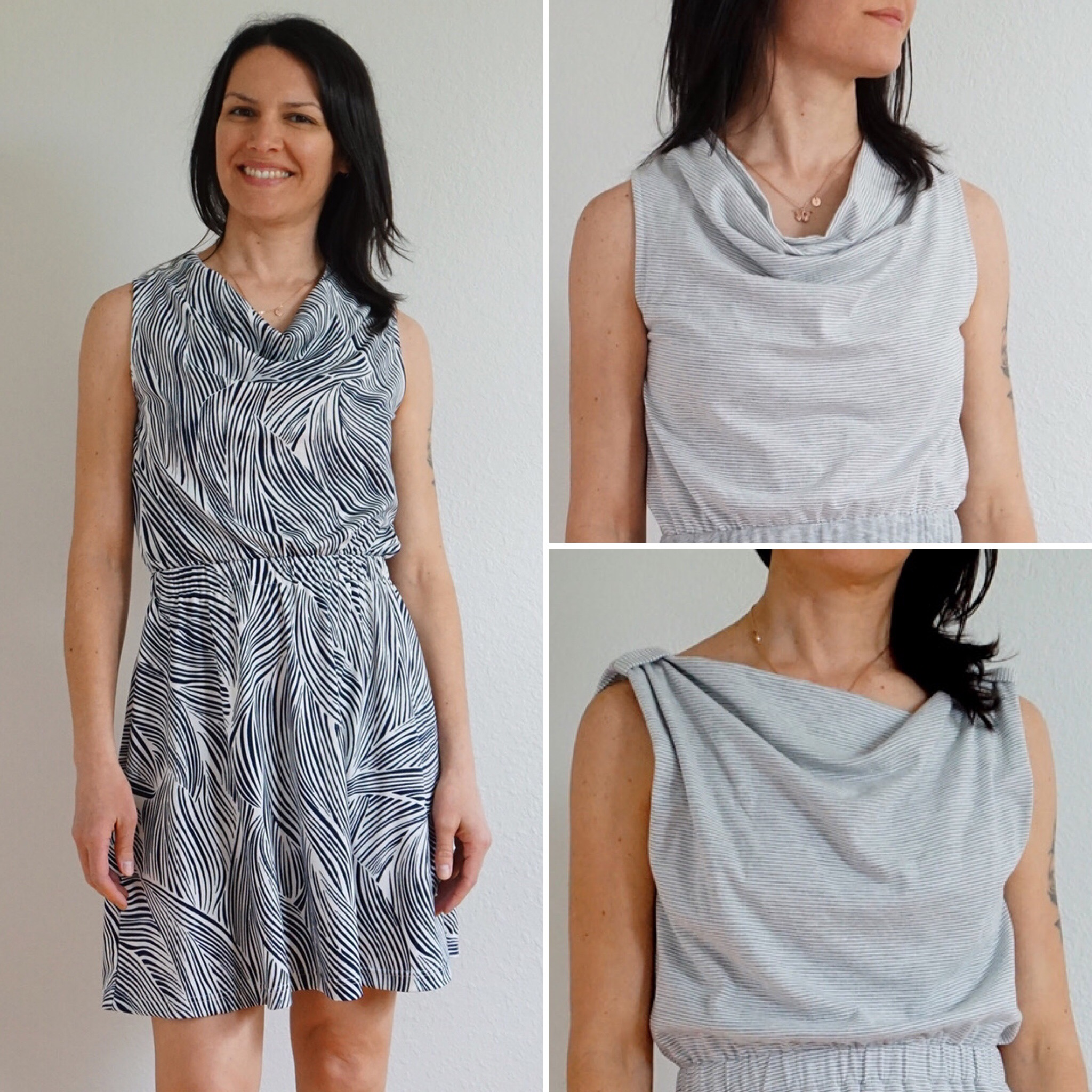 The Draped Cowl Neckline in Recycled Polyester and ITY Knit Fabrics
