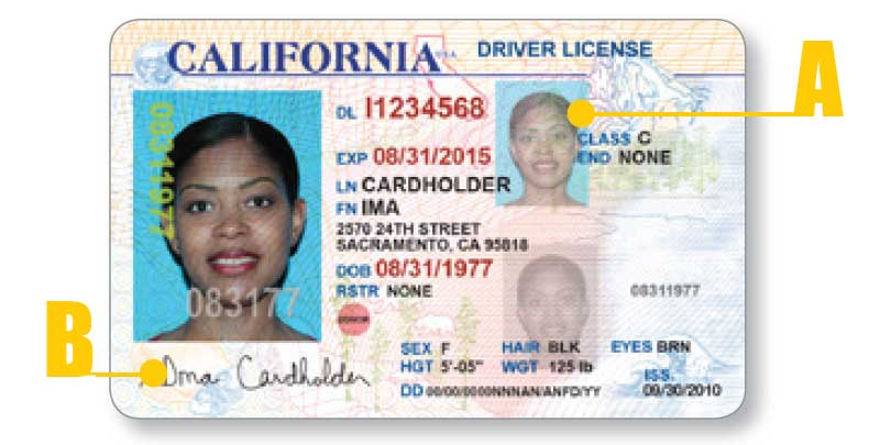 California driver license - front