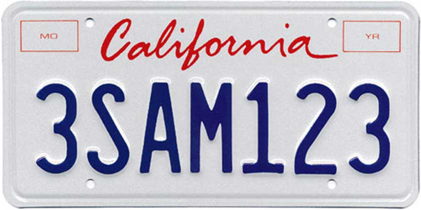 California Sample License Plate