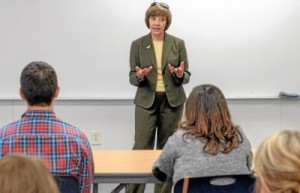 """CDFA Secretary Karen Ross talks with students at CSU Chico"" -ChicoER News"