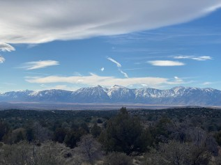 Jobs Peak and Jobs Sister, and other parts of the Carson Range, as seen from Sunrise Pass Road near Carson City, NV. Taken during a gravel ride.