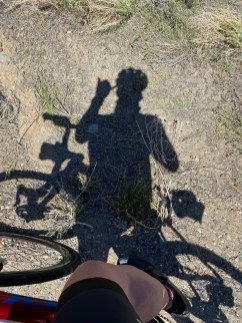 Mark's shadow hanging loose while on the way up to Raymond Meadow Creek.