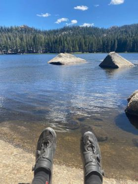 Relaxing at Burnside Lake after a gravel climb