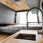 Conversion van kitchen and bed.