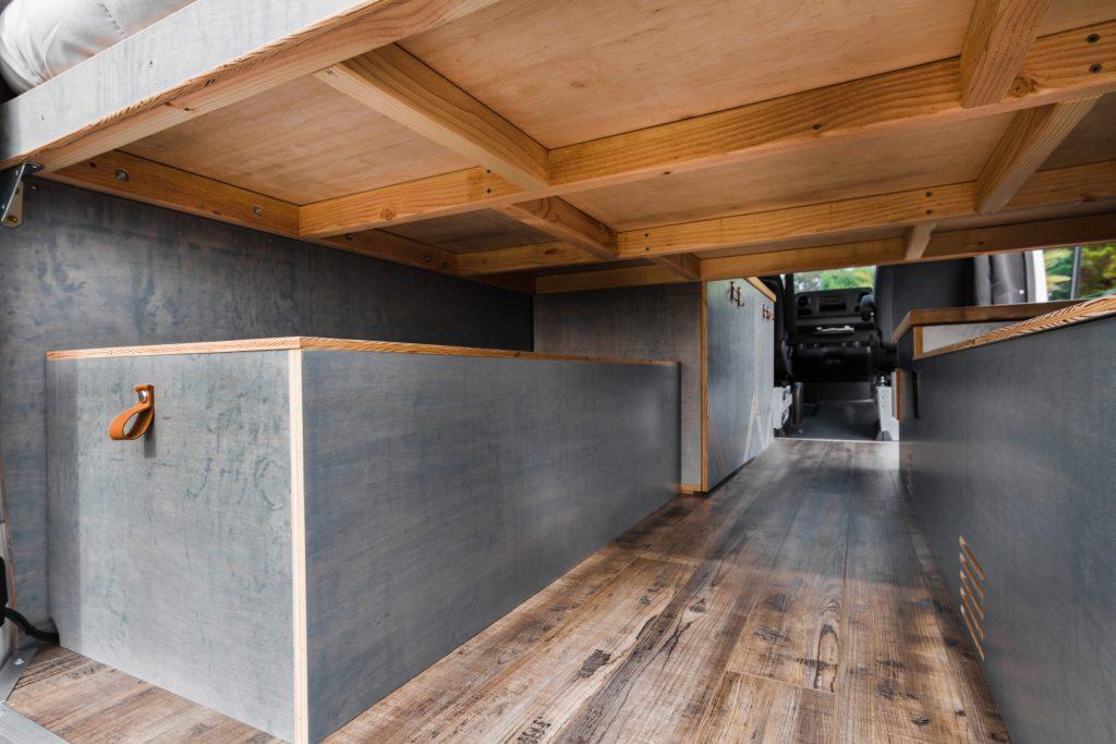 Mercedes Sprinter custom camper van garage area.