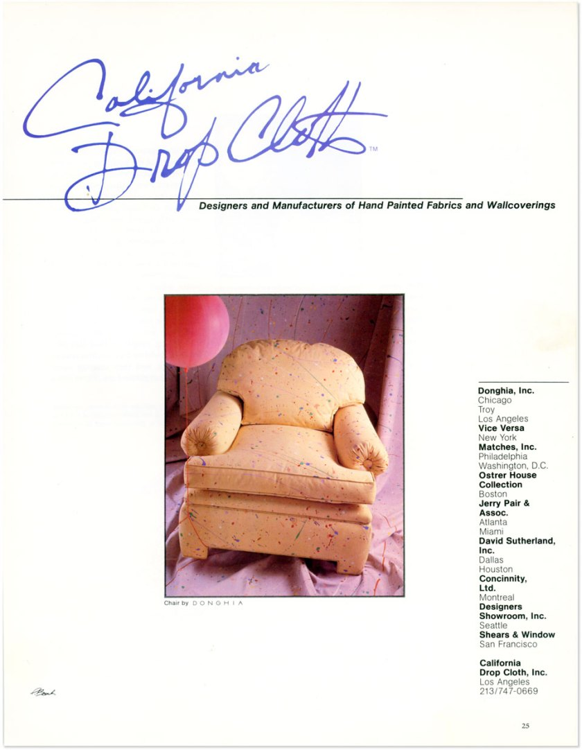 California Drop Cloth advertisement for Celebration pattern upholstered on a Donghia chair