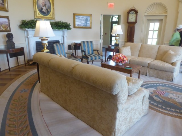 The recreated Oval Office at the George W. Bush Presidential Center in Dallas, Texas