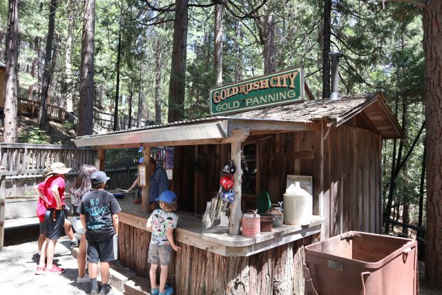 prospector's cabin where you can go panning for gold at Yosemite Mountain Sugar Pine Railway