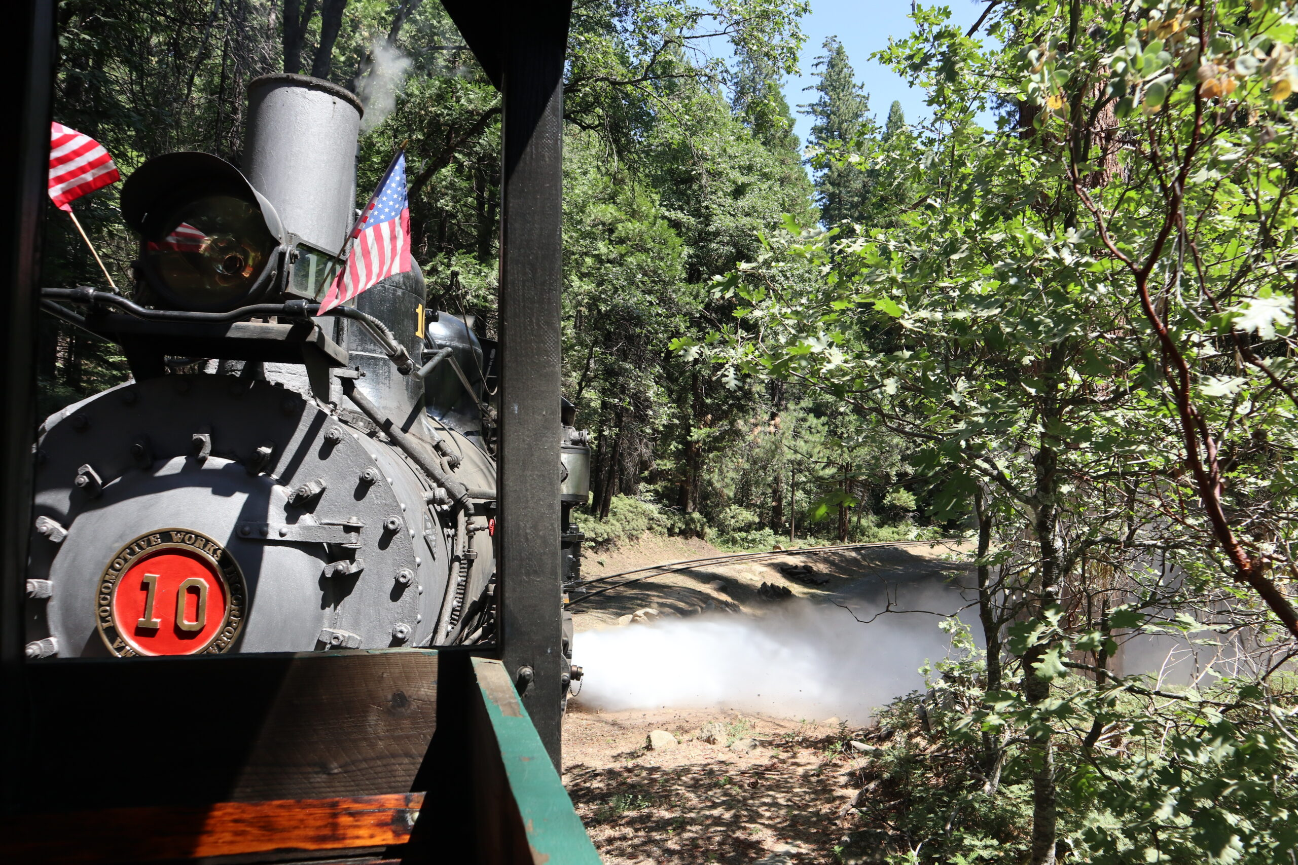 Yosemite Mountain Sugar Pine Railroad vintage steam train ride through the forest
