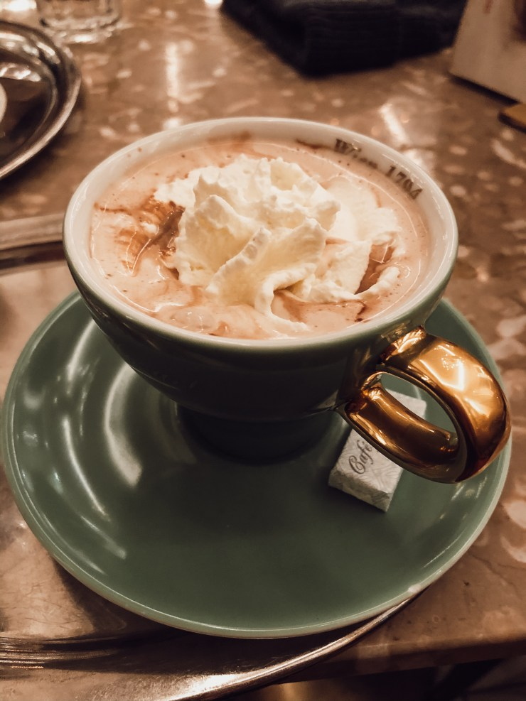 Vienna hot chocolate at Christmas