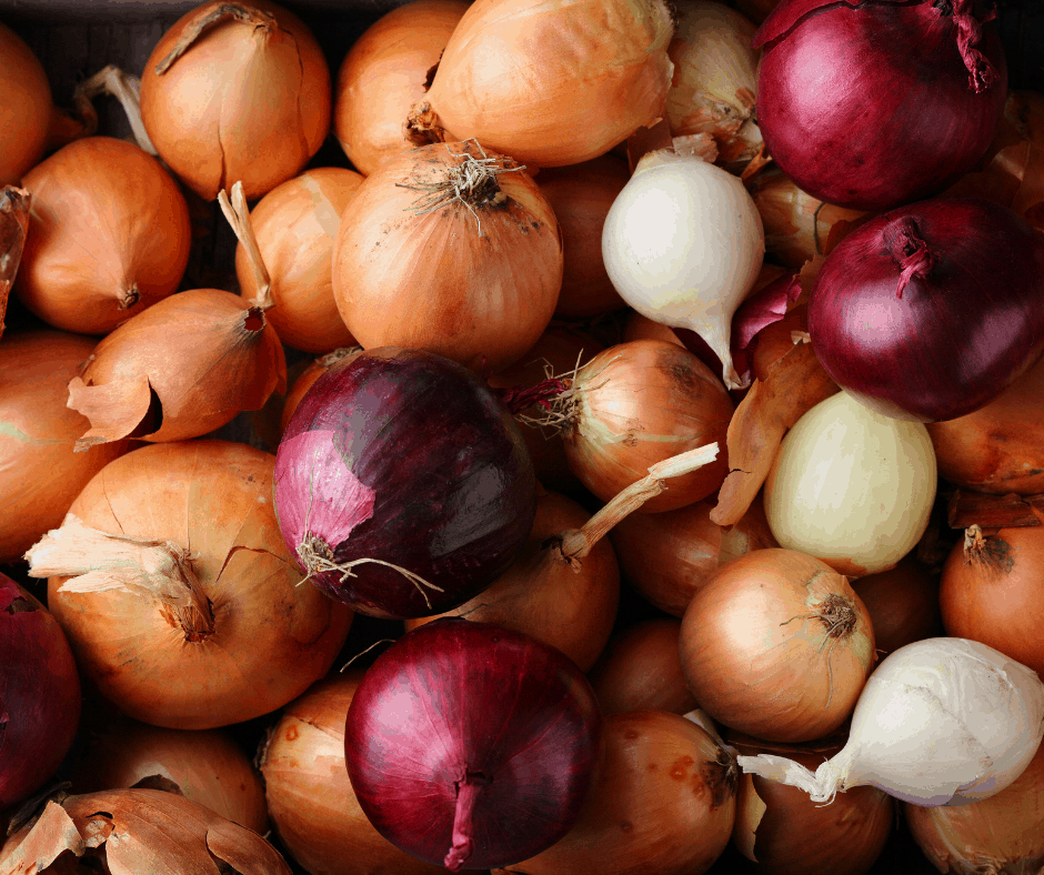 Red yellow and white onions