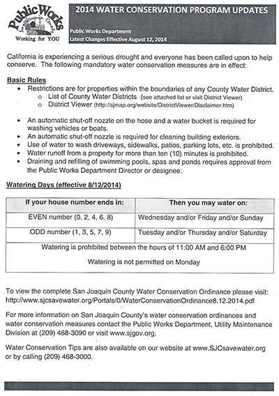 Department of Public Works, San Joaquin County Mandatory Water Conservation Measures