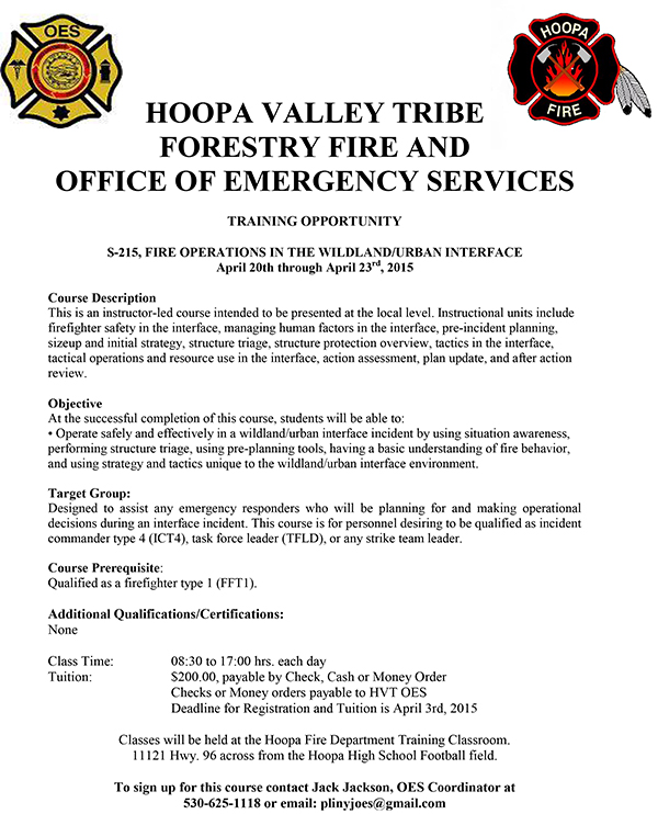 Hoopa Valley Tribe Forestry Fire and Office of Emergency Services – Training Opportunity