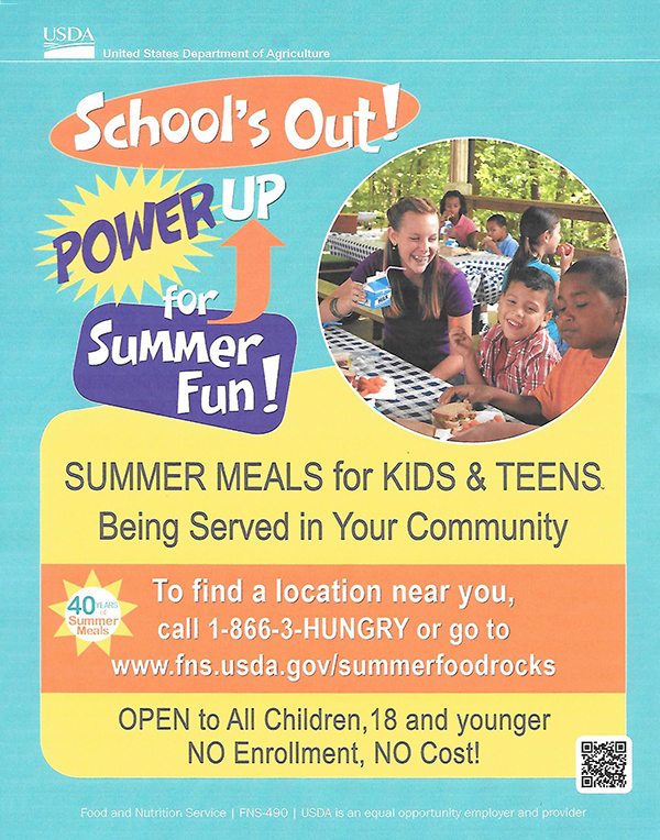 U.S. Dept. of Agriculture Summer Meals for Kids & Teens
