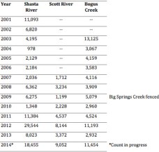 Counts of adult Chinook salmon returning to three tributaries of the Klamath River. Data provided by California Department of Fish and Wildlife