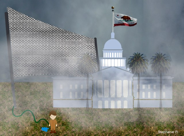 To fit on a typical single-family lot, the length of the fog fence would be limited to about 50 feet. That means the fence would need to stand 21 to 250 feet tall, about the height of the State Capitol dome. Illustration by Stephanie Pi, UC Davis.