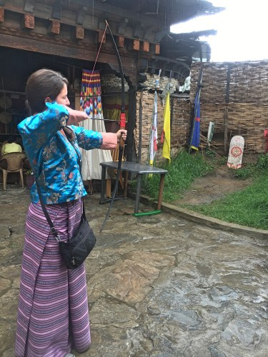 me playing archery in Thimphu