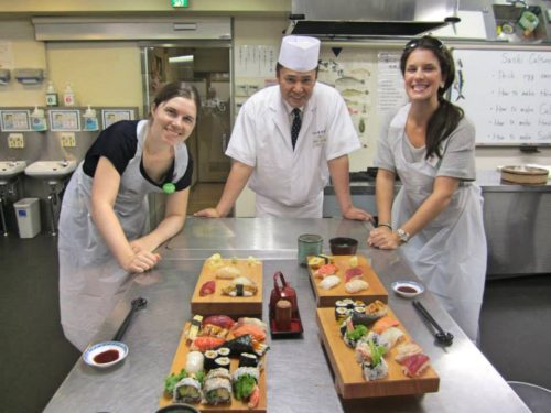 Me and another girl in our sushi making class