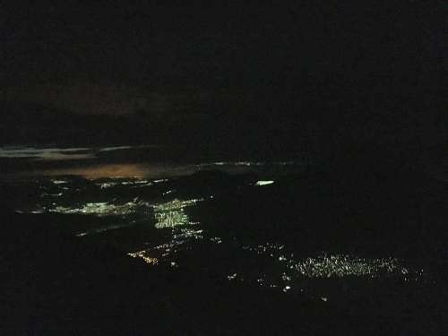 City views from Acatenango in the dark