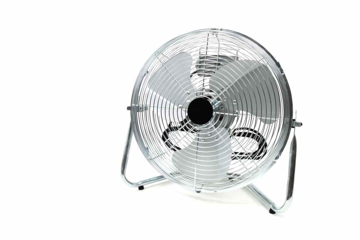 gray round floor fan