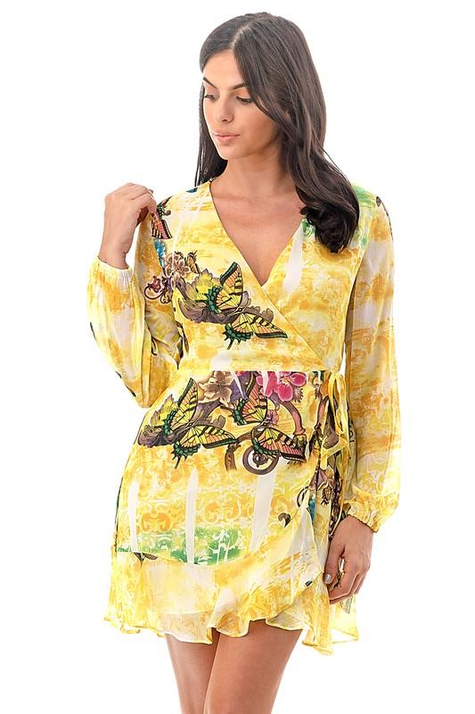 5 Pcs Women's Yellow V-Neck Long sleeve Fashion SunDRESS