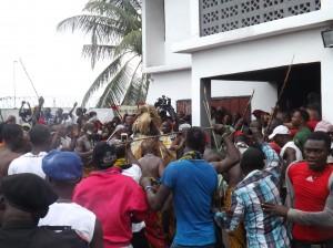 This carnival like atmosphere accompanies the 'Etangala' Masquerade