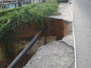 The threatened section of the Atimbo/Akpabuyo road
